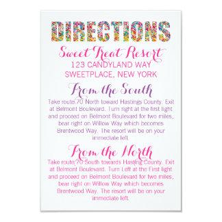Tarjeta de las DIRECCIONES del tema del caramelo