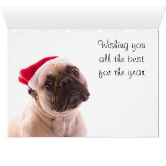 Tarjeta de las Felices Navidad con un dogo francés