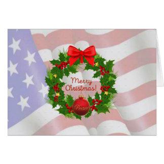 Tarjeta de las Felices Navidad de la bandera de