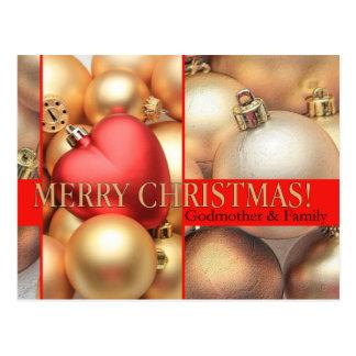 Tarjeta de las Felices Navidad de la madrina y de Postal