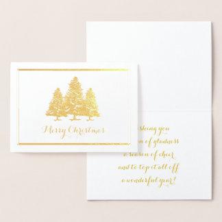 Tarjeta Con Relieve Metalizado Tarjeta de las Felices Navidad de los árboles de