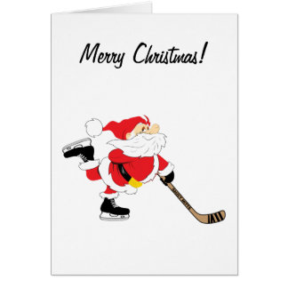 Tarjeta de las Felices Navidad de Santa del hockey