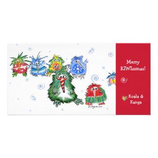 Tarjeta de las Felices Navidad del kiwi del dibujo Tarjeta Fotografica
