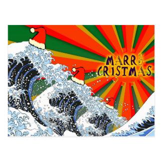 Tarjeta de las Felices Navidad - gran onda 01 de Postal