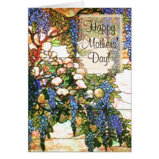 Tarjeta de las glicinias del día de madres