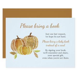 Tarjeta de libro azul de la fiesta de bienvenida