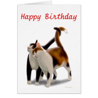 Tarjeta de los amigos del gato del feliz cumpleaño