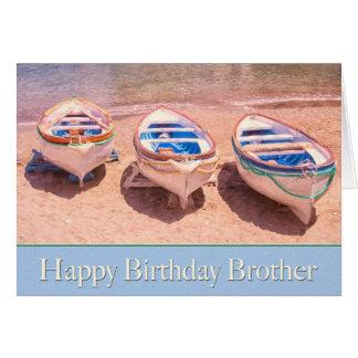 Tarjeta de los barcos de fila de Brother del feliz