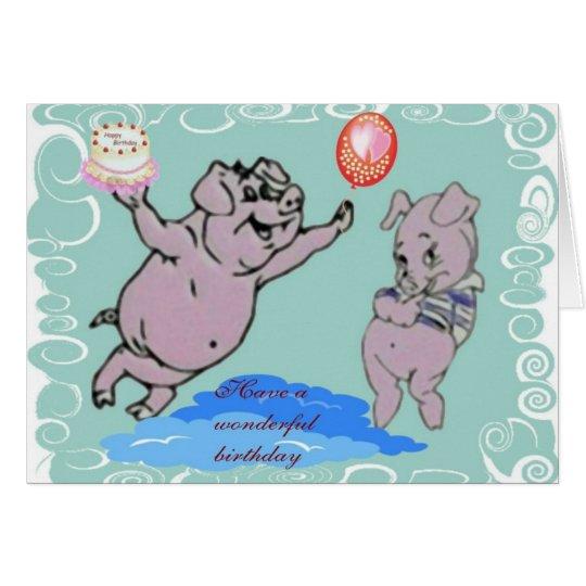 Tarjeta de los cerdos del feliz cumpleaños