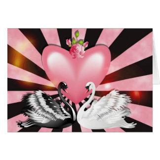 Tarjeta de los cisnes del amor