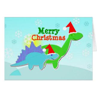 Tarjeta de los dinosaurios de las Felices Navidad