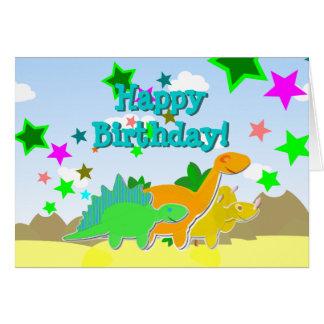 Tarjeta de los dinosaurios del feliz cumpleaños