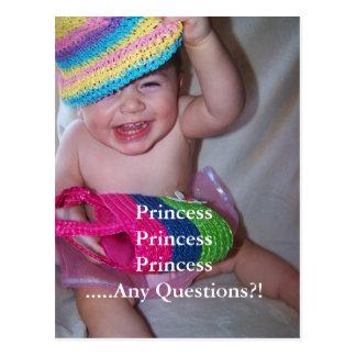 tarjeta de los hechos de la princesa postal