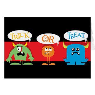 Tarjeta de los monstruos de Halloween para los