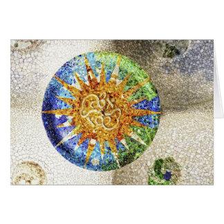 Tarjeta de los mosaicos de Guell del parque