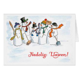 Tarjeta de los muñecos de nieve del navidad del
