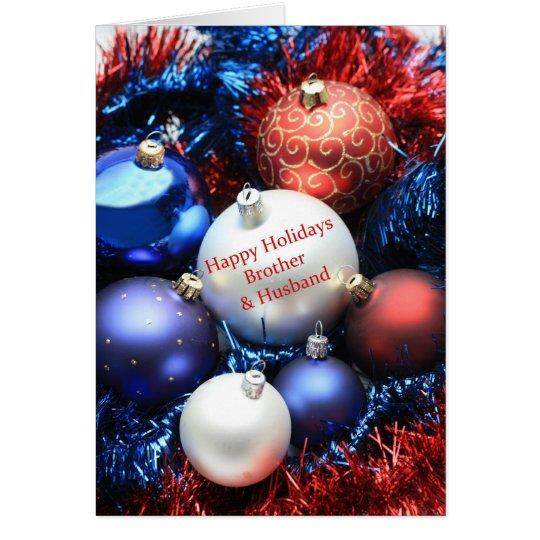 Tarjeta de los ornamentos del navidad de Brother y