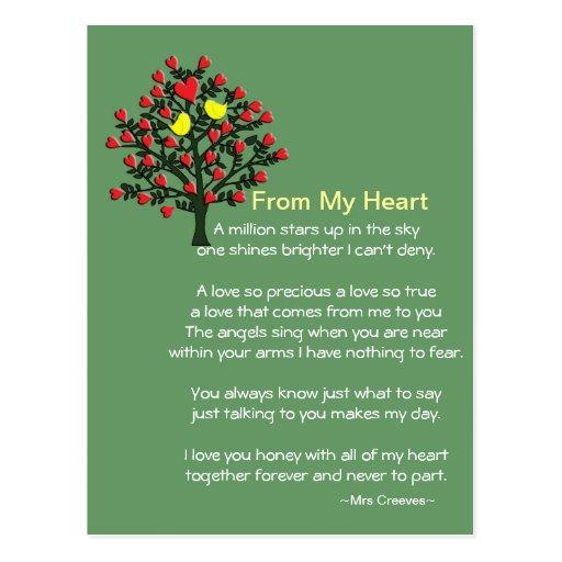 Tarjeta de los pájaros del amor con el poema tarjeta postal