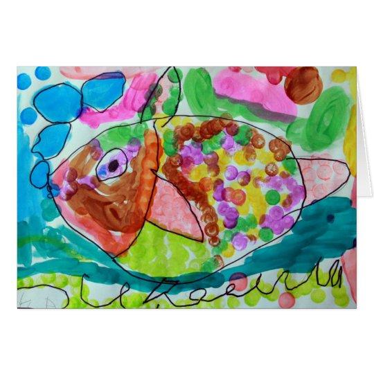 Tarjeta de los pescados de la acuarela - arte por