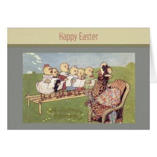 Tarjeta de los polluelos del bebé de Pascua del
