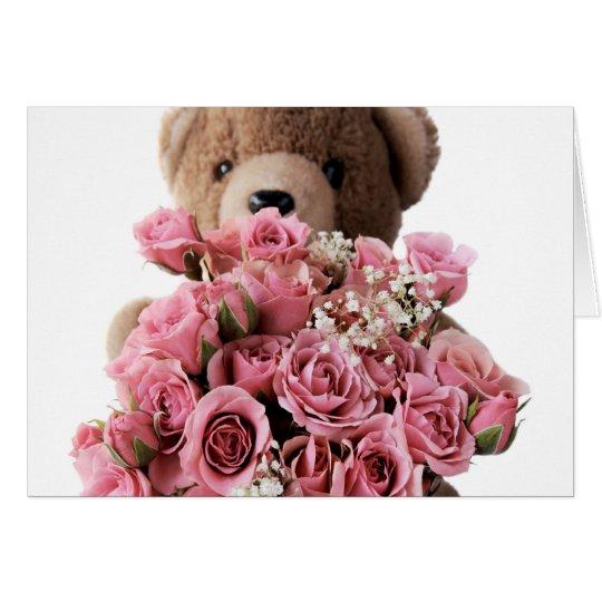 tarjeta de los rosas del oso