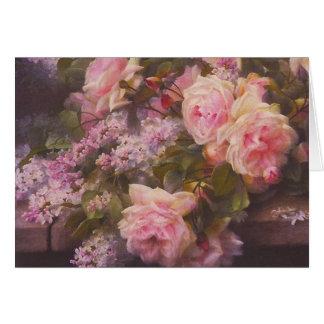 Tarjeta de los rosas y de las lilas del Victorian