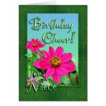 Tarjeta de los Zinnias de la alegría del cumpleaño