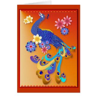 Tarjeta de lujo del pavo real y de las flores