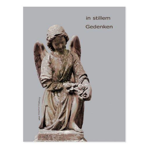 Tarjeta de luto con ángel tarjeta postal