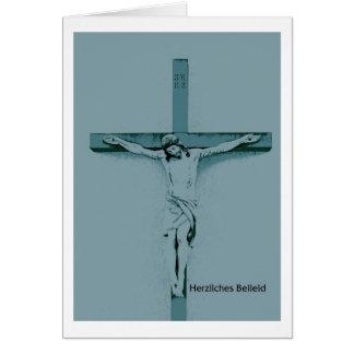 Tarjeta de luto jesús a la cruz pésame Cordial