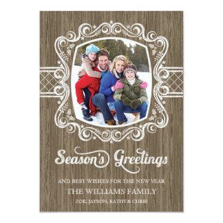 Tarjeta de madera rústica de la foto del día de invitación 12,7 x 17,8 cm