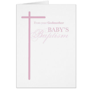 Tarjeta De madrina en el bautismo del chica, cruz rosada
