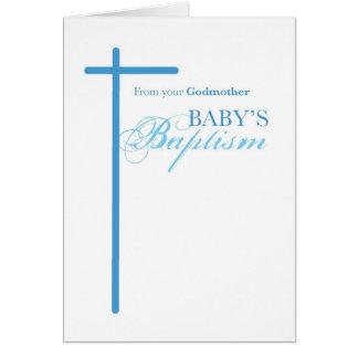 Tarjeta De madrina en el bautismo del muchacho, cruz azul