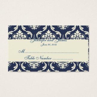 Tarjeta de marfil del lugar de la tabla del boda