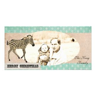 Tarjeta de marfil y azul de la cebra del vintage d tarjeta personal