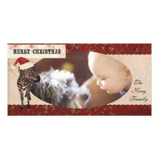 Tarjeta de marfil y roja de la cebra color de rosa tarjeta con foto personalizada