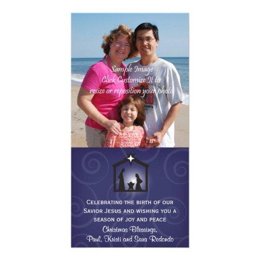 Tarjeta de medianoche de la foto del navidad de la plantilla para tarjeta de foto