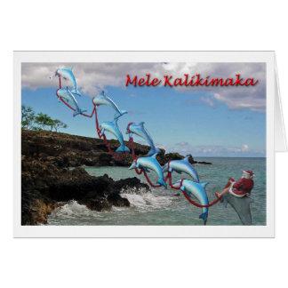 Tarjeta de Mele Kalikimaka de Santa y de los