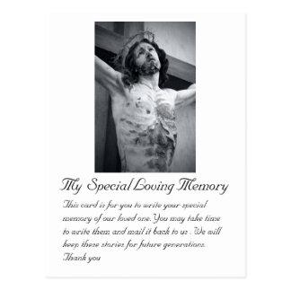 Tarjeta de memoria especial del boda fúnebre postal