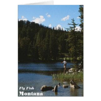 Tarjeta de Montana de los pescados de la mosca