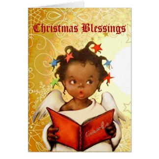 Tarjeta de Navidad afroamericana del ángel del