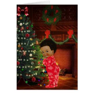 Tarjeta de Navidad afroamericana del niño