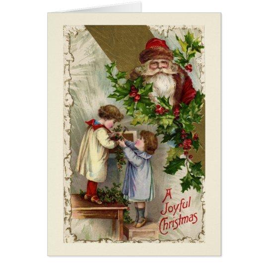 Tarjeta de Navidad alegre de Papá Noel del vintage
