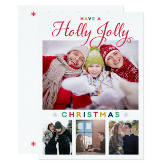 Tarjeta de Navidad alegre del acebo