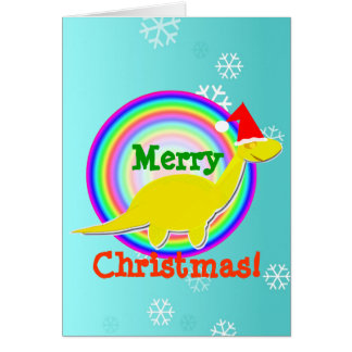 Tarjeta de Navidad amarilla del dinosaurio