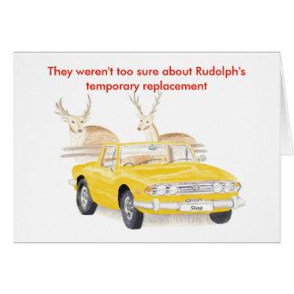 Tarjeta de Navidad amarilla del macho de Triumph