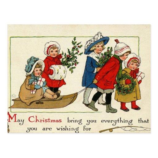 Tarjeta de Navidad antigua de la reproducción Tarjeta Postal