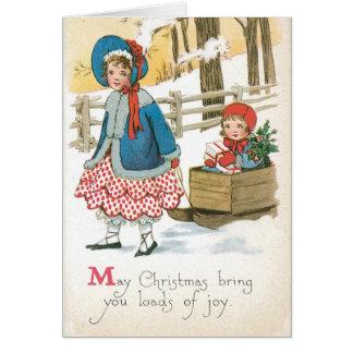Tarjeta de Navidad auténtica del vintage con los