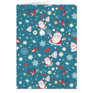 Tarjeta de Navidad azul de Santa