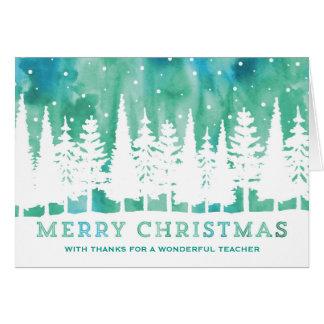 Tarjeta de Navidad azul del profesor de los